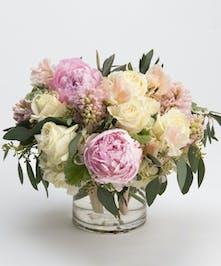 white and blush arrangement of peonies, hydranga and sweet pea