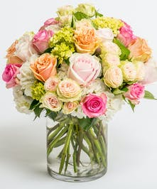 pastel pink, white and peach roses