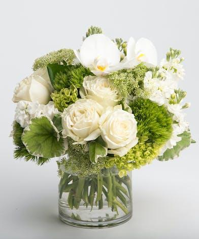 premium white blooms flower arrangement