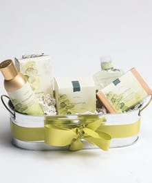We will choose from a wonderful collection of Eucalyptus scented Thymes products - including soaps, lotions and candles - to create this peaceful gift of relaxation.