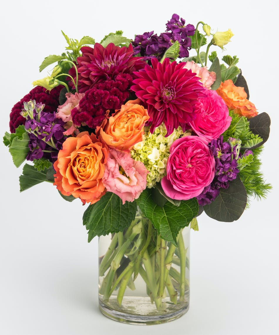 Crimson skies philadelphia florist flower delivery robertsons burgundy dahlia pink roses and purple lisianthus arrangement available for nationwide delivery izmirmasajfo