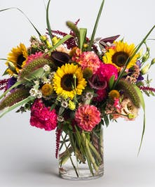 arrangement of locally grown fresh seasonal flowers