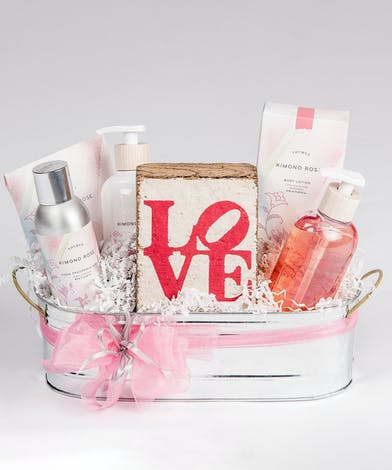 kimono rose scented spa basket with love block gift