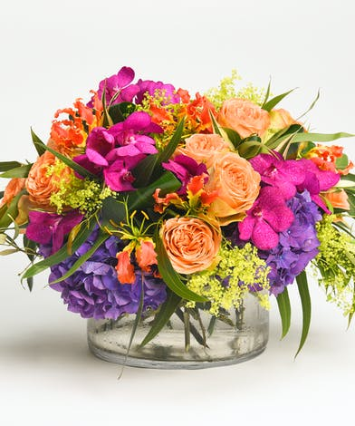 luxury arrangement of orchids, hydrangea and gloriosa lilies