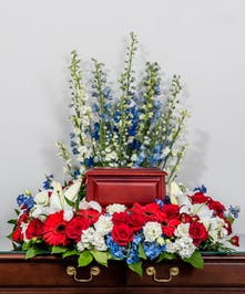 patriotic red, white and blue memorial wreath