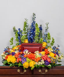 memorial wreath of all vibrant blooms