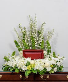 memorial wreath of all white and cream flowers