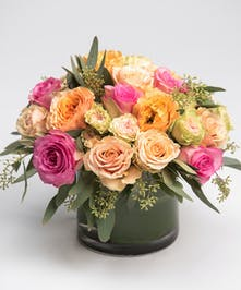 pink, peach and green roses