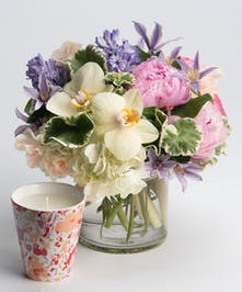 pastel spring arrangement with scented candle gift set