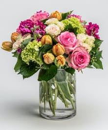 orange tulips and pink roses arrangement