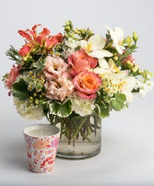 peach, pink and white arrangement with scented candle gift set
