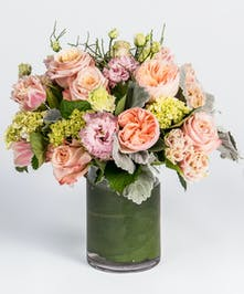 blush pinks and peaches valentine's day arrangement