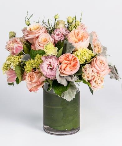 blush pinks and peaches valentine's day arrangement