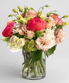coral peony and peach roses