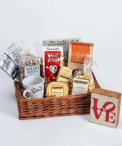 gift basket filled with Philadelphia merchandise and local Philadelphia gourmet foods