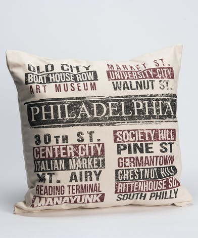 pillow with a custom design inspired by Philadelphia's most iconic locations