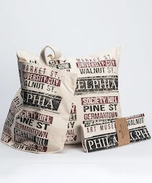 large tote, pillow and dish towel gift set with custom philadelphia design