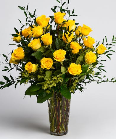 Two Dozen Long Stem Yellow Roses With Greens
