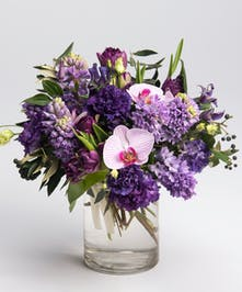 lavender and purple valentines day flower arrangement