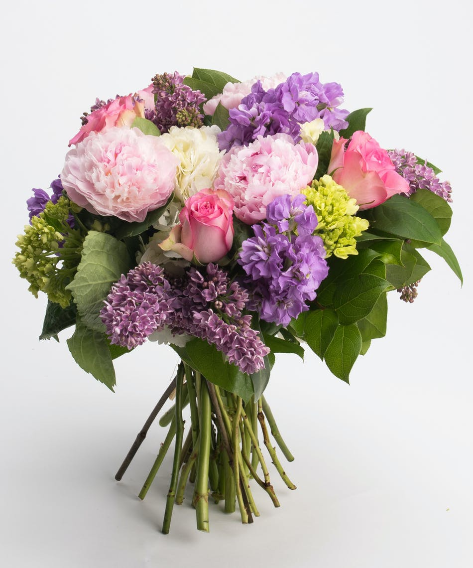 garden bouquet of pink and lavender blooms