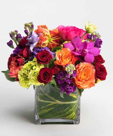 berry colored garden roses, orchids, and gloriosa lilies