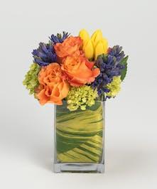 yellow roses, orange tulips, and blue hyacinth