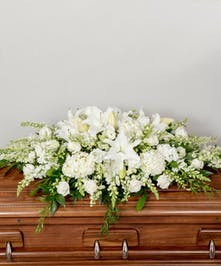full funeral cakset spray in whites, creams and greens