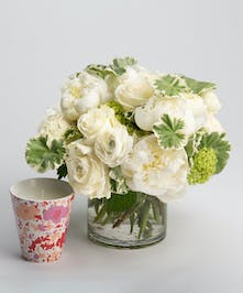 all white Spring arrangement with candle gift set