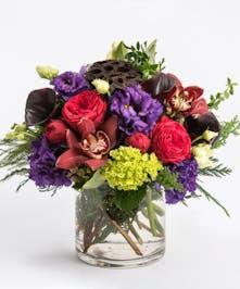 winter purples, burgundies and greens