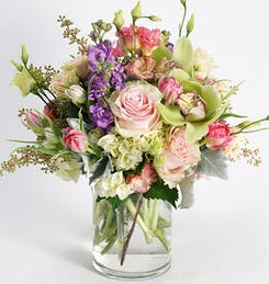 A colorful, mixed floral arrangements