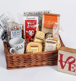 Locally-sourced pretzels and cheese in a square gift basket