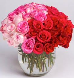 White, pink and red roses in a crystal vase