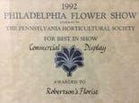 A 1992 certificate pronounces Robertson's Best in Show at the Philadelphia Flower Show